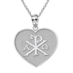 925 Silver Christian Symbol Chi Rho Heart Necklace
